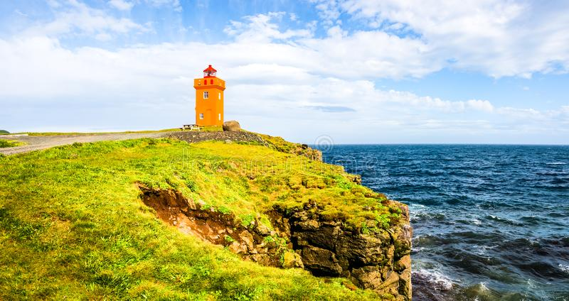 Lighthouse at seashore of Iceland royalty free stock photography
