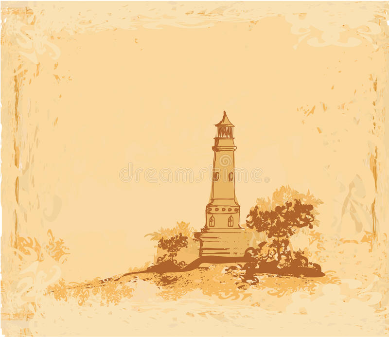 Download Lighthouse Seen From A Tiny Beach Stock Vector - Illustration of japanese, beacon: 23728101