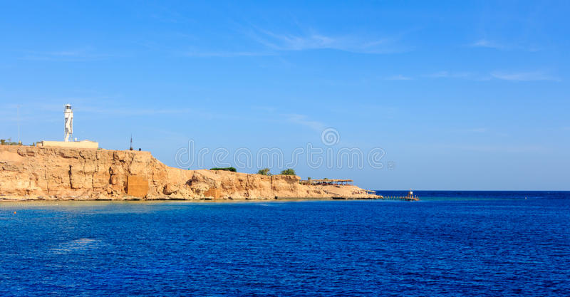 Lighthouse Sharm El Sheikh. The view of the lighthouse from the sea. Sharm El-Sheikh royalty free stock images