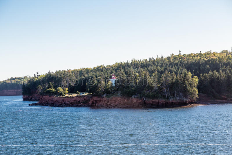 Lighthouse on Shore of Prince Edward Island stock image