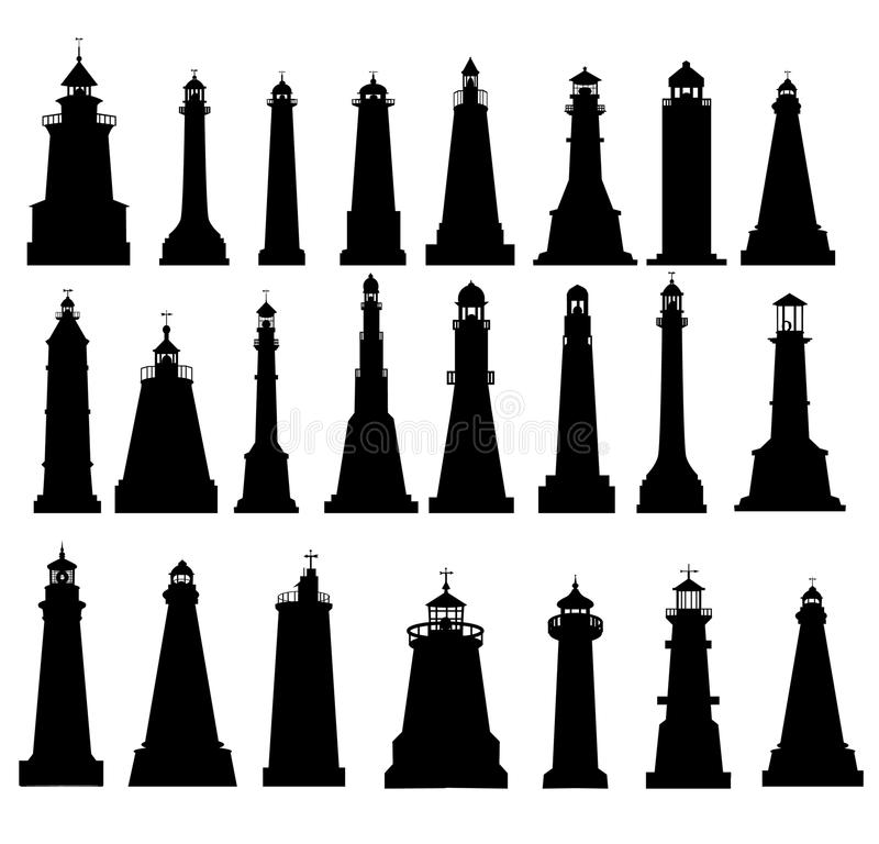 Free Lighthouse Silhouette Set Royalty Free Stock Images - 55733429