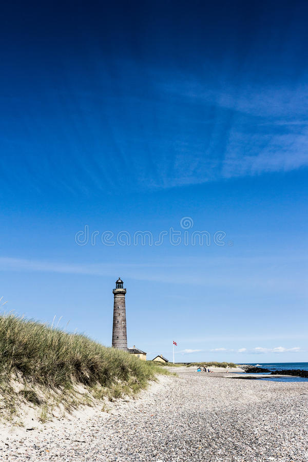 Lighthouse in Skagen with great sky formation royalty free stock images