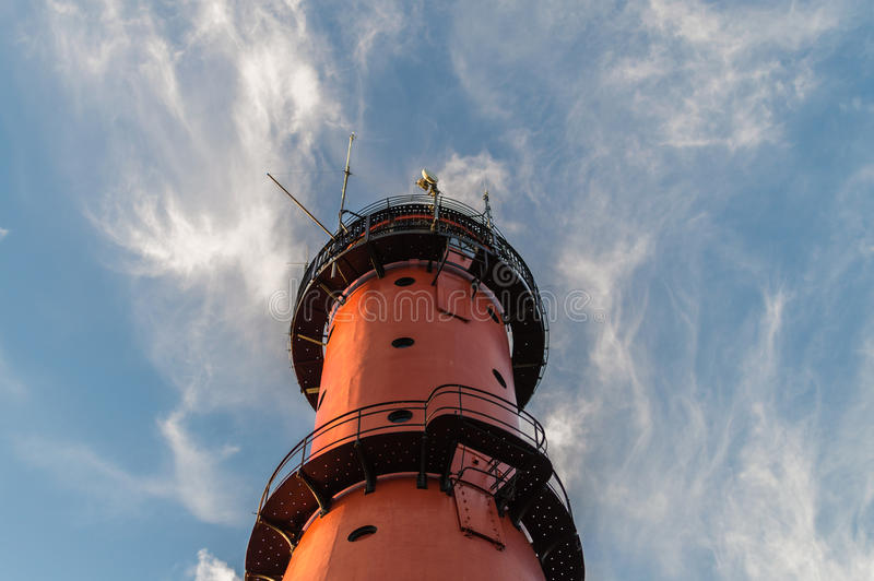 Lighthouse with sky and clouds background, located in Jastrzebia Gora at the Baltic Sea coast Poland.  royalty free stock photos