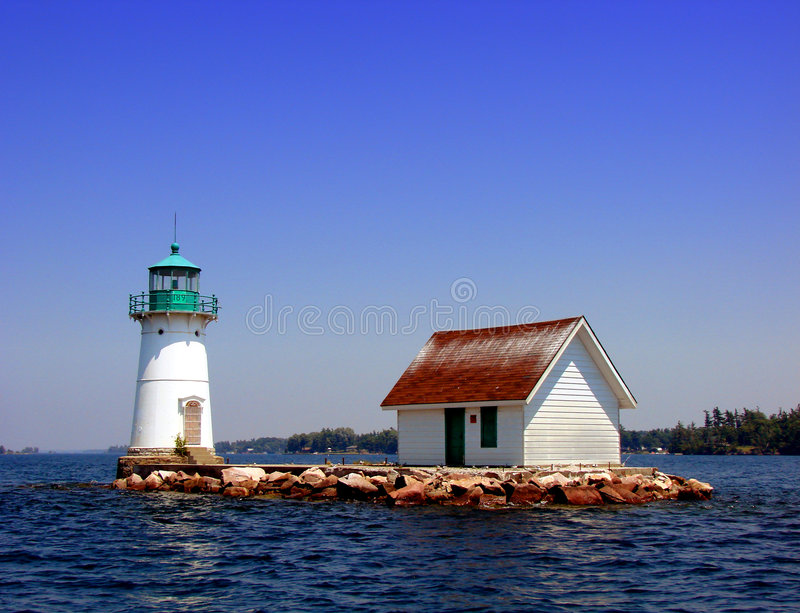 Lighthouse on the St Lawrence River in New York stock image