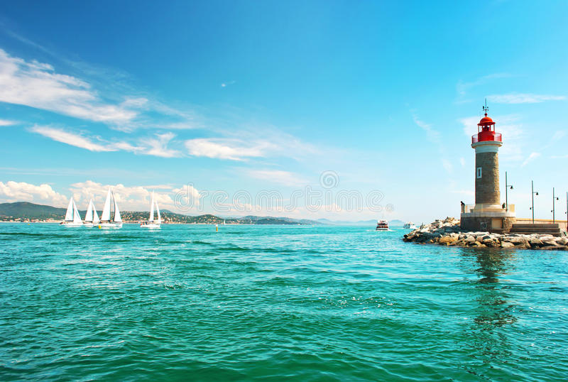 Lighthouse of St. Tropez. Mediterranean landscape. French rivierera. Lighthouse of St. Tropez. Beautiful mediterranean landscape. French riviera, France royalty free stock images