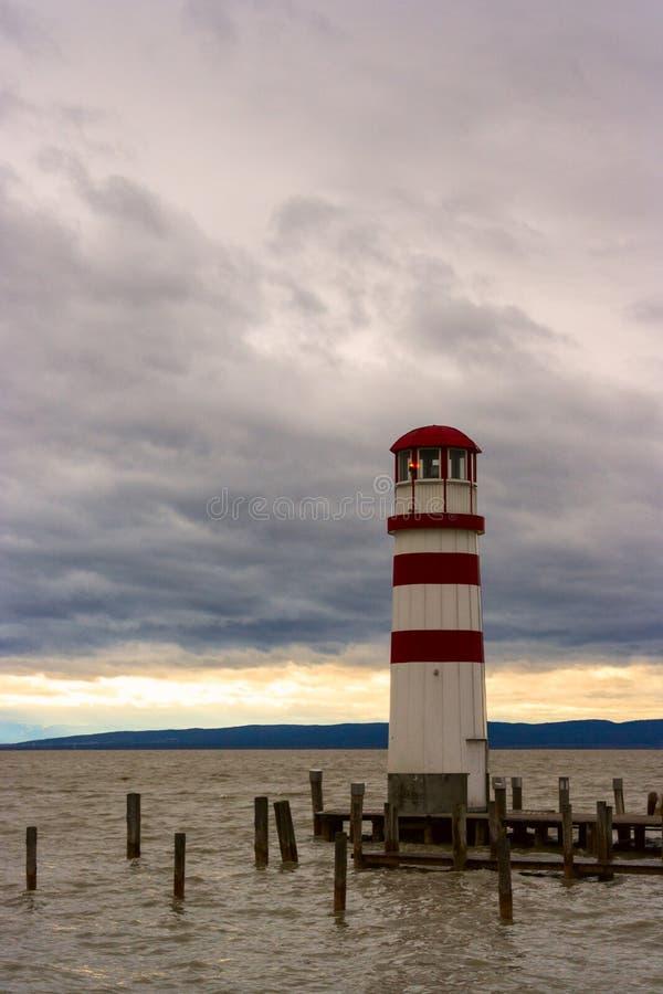 Lighthouse at Lake Neusiedl royalty free stock photo