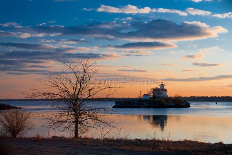 Download Lighthouse Sunset stock image. Image of orange, lake, horizon - 8472233