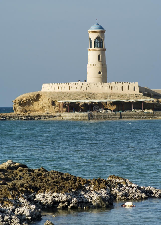 Lighthouse at Sur in Oman royalty free stock image
