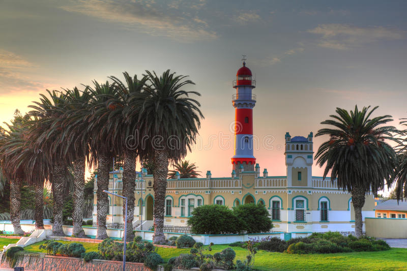 Lighthouse, Swakopmund, Namibia. The landmark Swakopmund lighthouse, Namibia, Southern Africa royalty free stock photography
