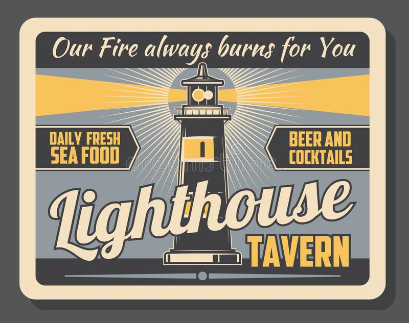 Lighthouse tavern beer and food pub marine poster vector illustration