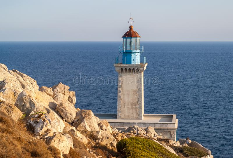 Lighthouse Tenaro, Greece. Cape Matapan , also named as Cape Tainaron is the southernmost point of mainland Greece, and the second southernmost point in royalty free stock images