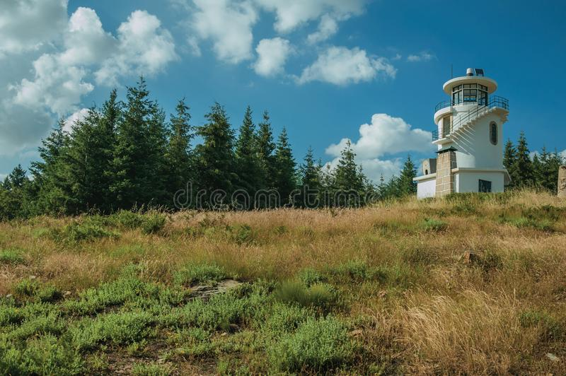 Lighthouse on top of hill covered by grass and trees royalty free stock photos