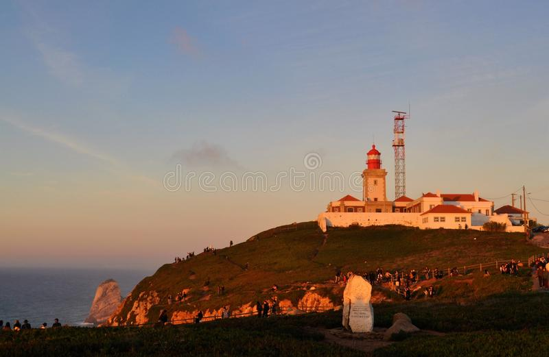 The lighthouse on the top of the promontory - Cape Roca stock photography