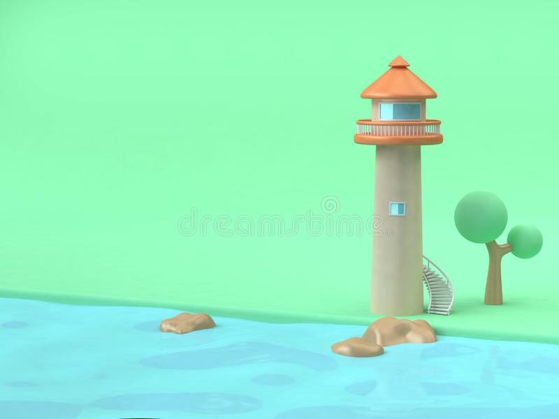 Lighthouse-tower cartoon style  green beach blue water sea,landscape nature-building concept 3d rendering. 3d lighthouse-tower cartoon style  green beach blue stock illustration