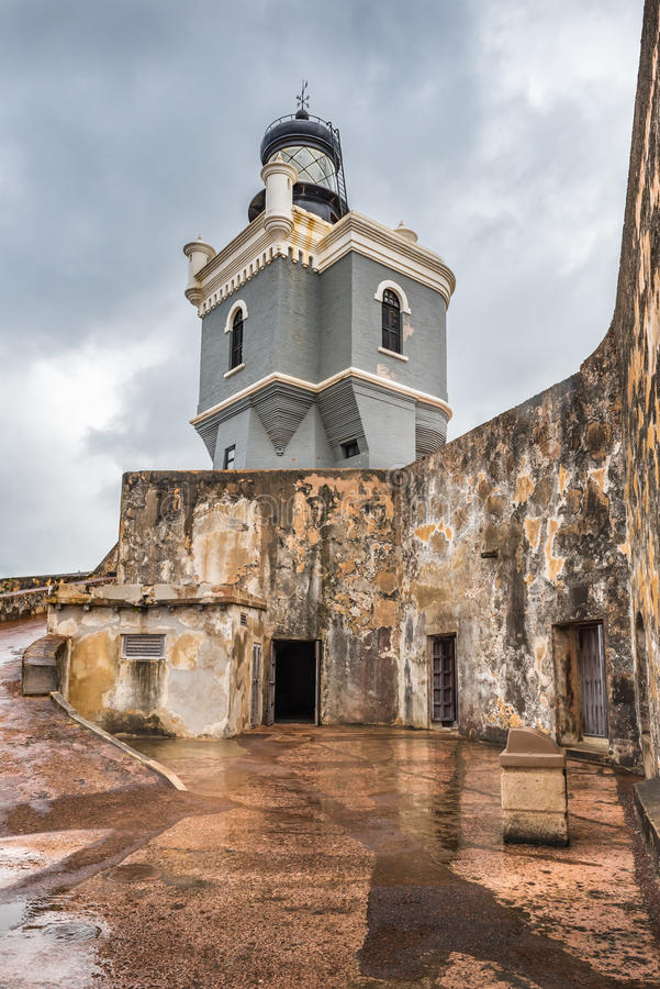 Lighthouse tower in Castillo San Felipe del Morro. With rain soaked platform and walls royalty free stock photos