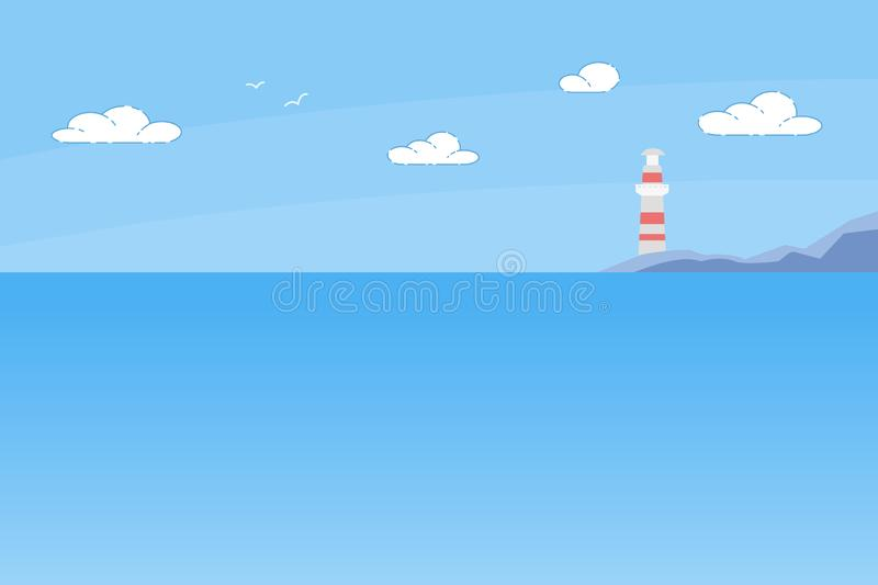 Lighthouse Tower Standing on Rocky Seashore Summer vector illustration