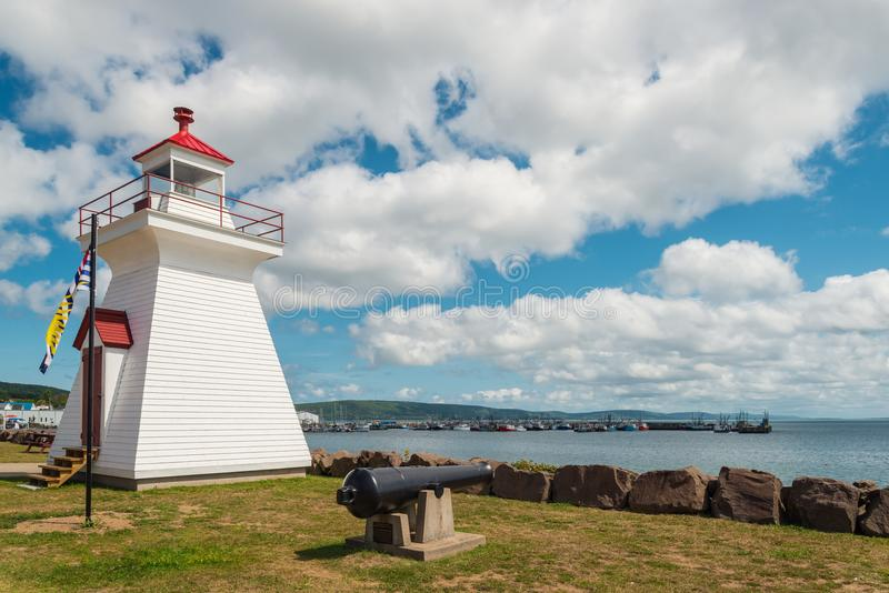 Lighthouse in town center of Digby stock photos