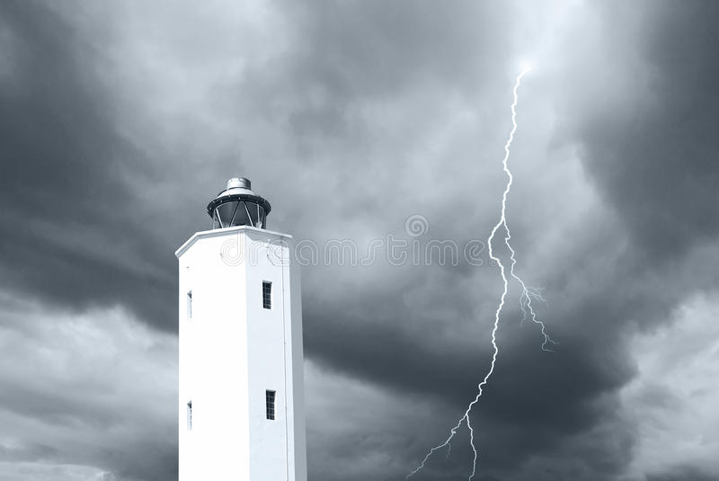 Download Lighthouse under the storm stock photo. Image of cloudy - 16825162