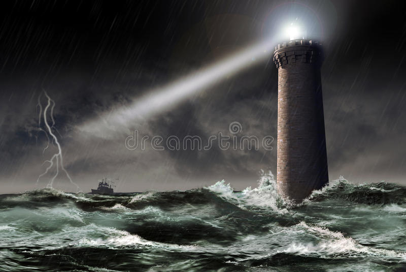 Lighthouse under the storm. A lighthouse tower projects its light through the storm, as a fishing boat tries to join the coast