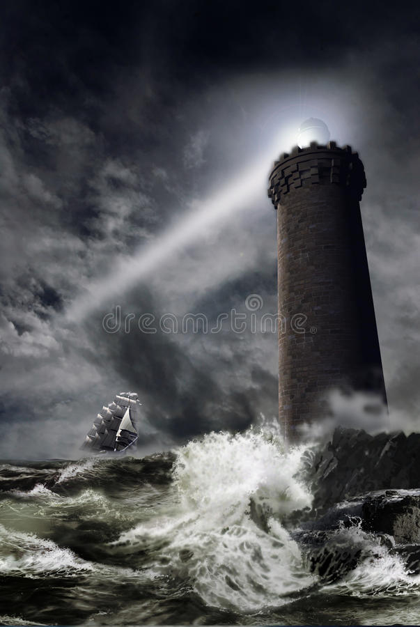Lighthouse under the storm. A lighthouse tower projects its light through the storm, as a sailboat tries to join the coast
