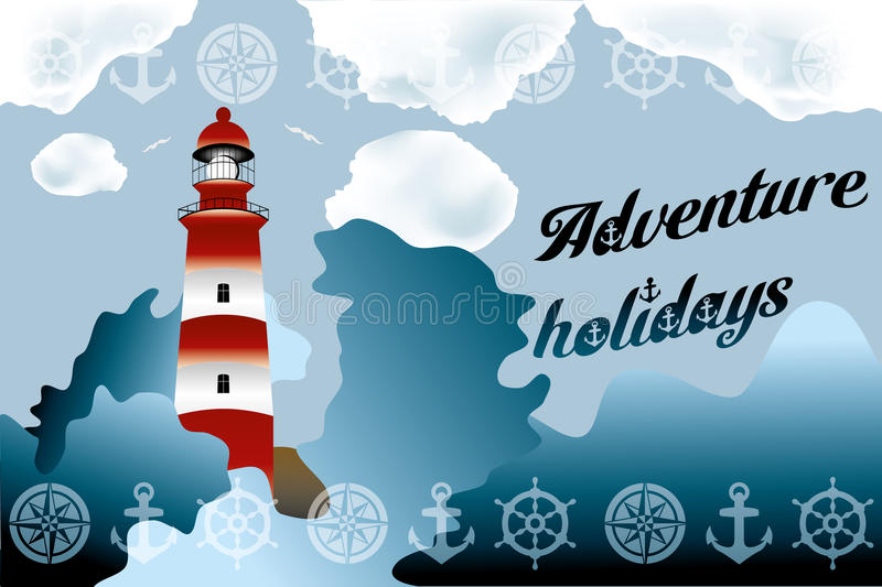 Lighthouse on unsteady sea. Lighthouse on unsteady coastline - Adventure holidays background illustration vector illustration
