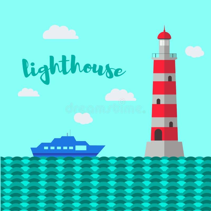 Lighthouse vector illustration. Sea landscape. stock illustration