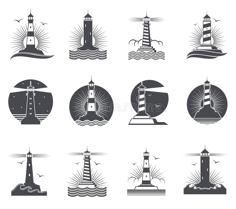 Lighthouse vector marine vintage labels. Lighthouses and ocean waves retro nautical logos set. Lighthouse and beacon building in sea illustration royalty free illustration