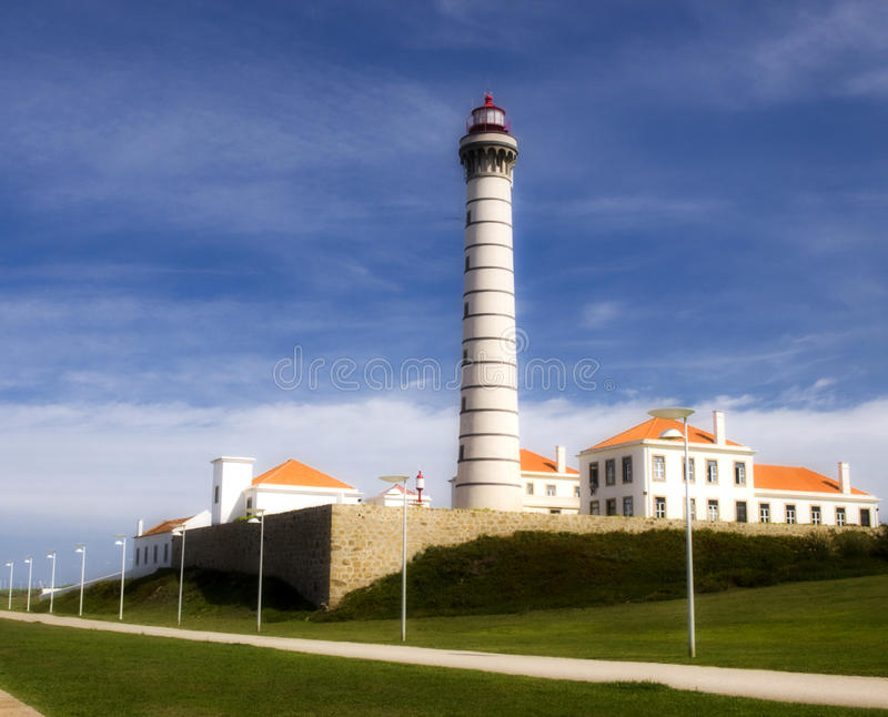 Lighthouse view in bright summer day. stock image