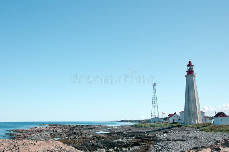 Lighthouse And Village Stock Images