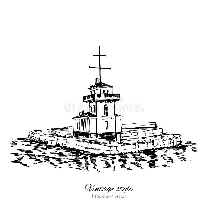 Lighthouse of Vyborg, Finnish Gulf, Saint Petersburg landmark, Russia, hand drawn engraving vector illustration isolated. On white, ink sketch building for stock illustration