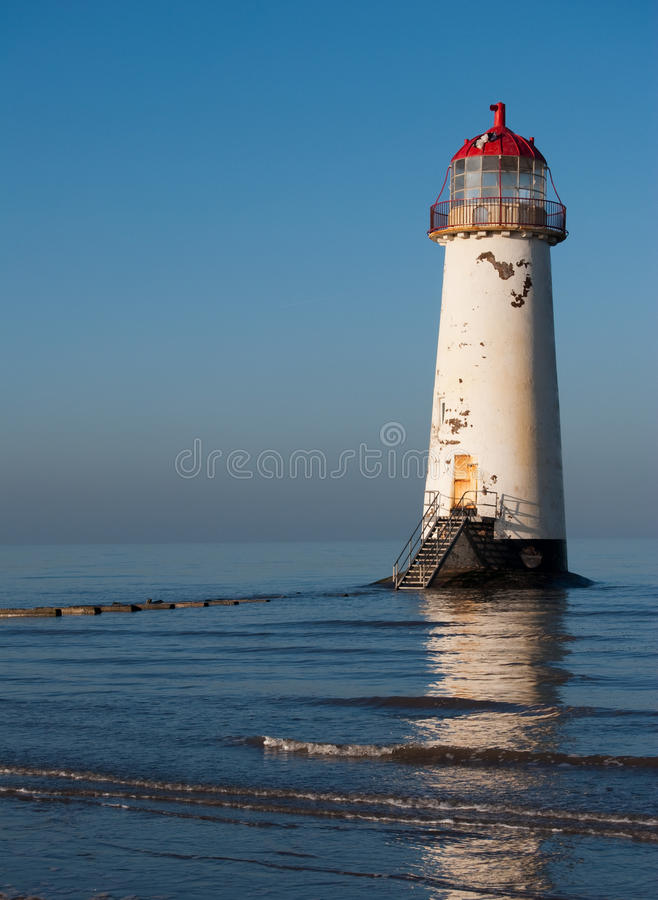 Lighthouse in wales. Lighthouse at Talacre beach near Mostyn North Wales,UK royalty free stock photography
