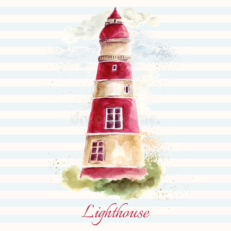 Lighthouse in watercolor technique vector illustration