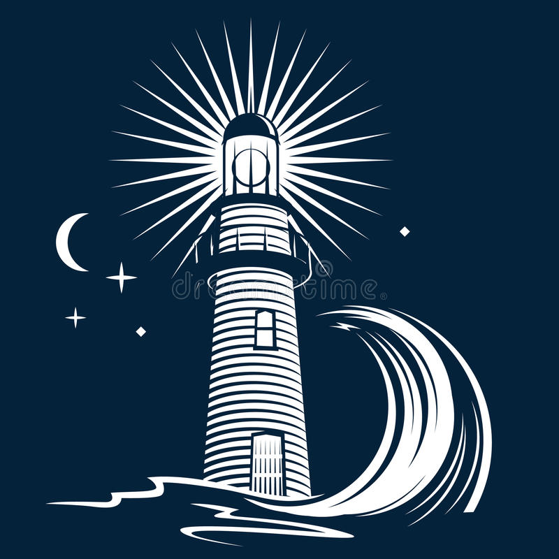 Lighthouse & Wave vector illustration