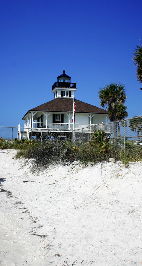 Lighthouse and white sand. Historical Boca Grande lighthouse in the tropical southwestern part of Florida with a white sandy beach and deep blue sky stock photos