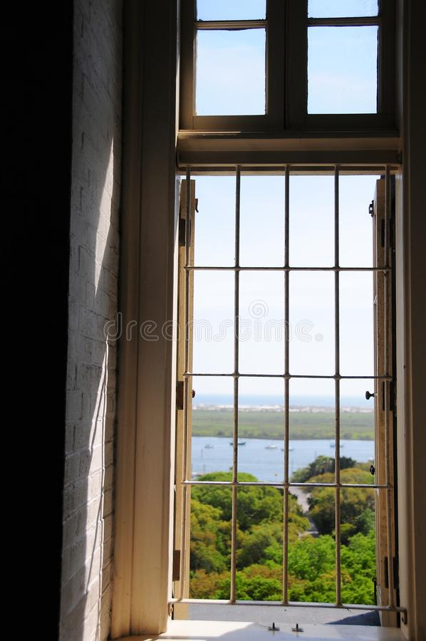 Lighthouse window, St Augustine FL royalty free stock image