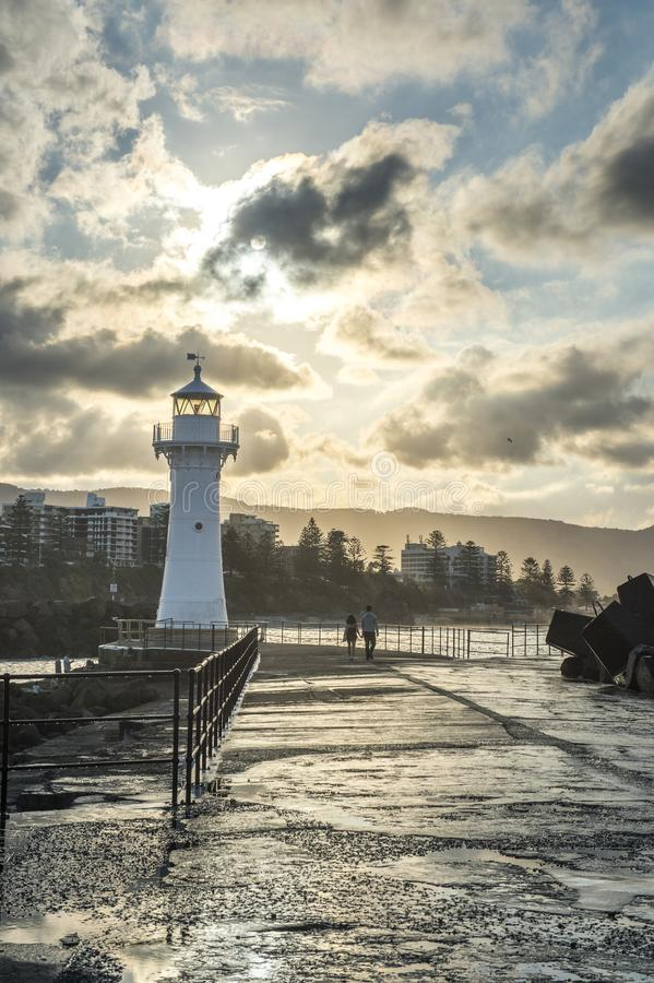 Lighthouse in Wollongong Australia stock images