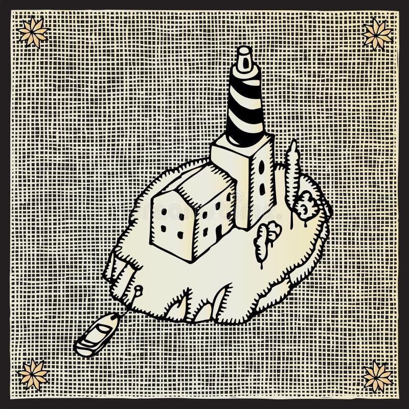 Lighthouse woodcut royalty free illustration