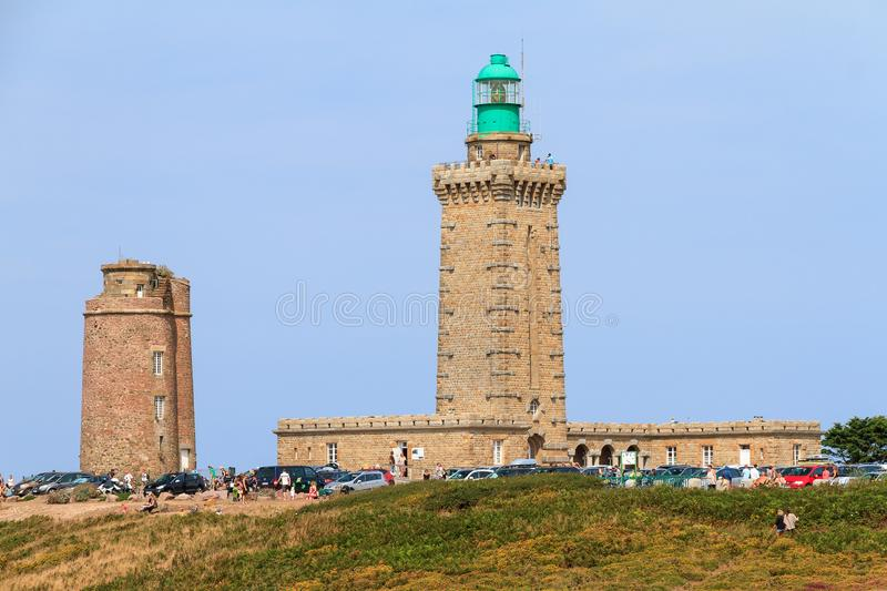 Lighthouses at Cap Frehel. Beautiful summer view of the old left and new right lighthouses at Cap Fréhel in Brittany, France royalty free stock images