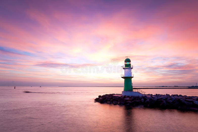 Lighthouses in the morning stock photo