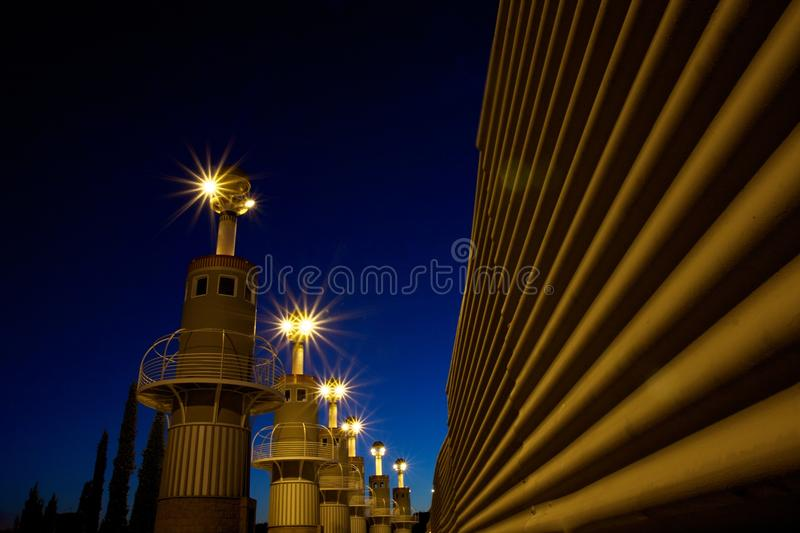 Lighthouses At Night Royalty Free Stock Image