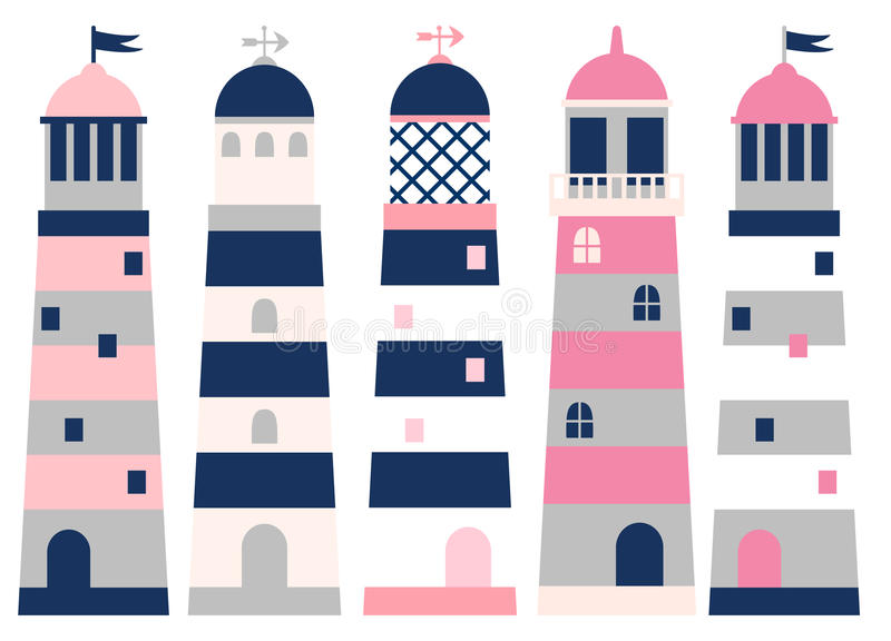 Lighthouses in pink, blue and grey colors royalty free illustration