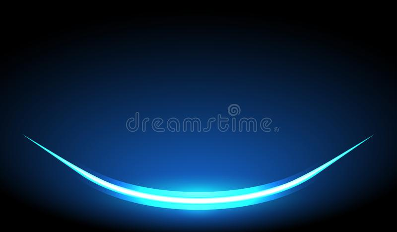 Glow light curve effect. On Dark blue background stock illustration