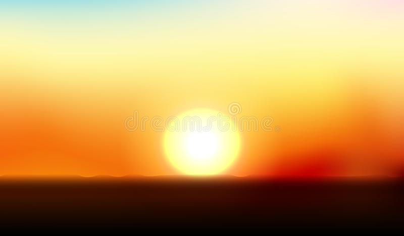 The sun is going down to the horizon. vector illustration