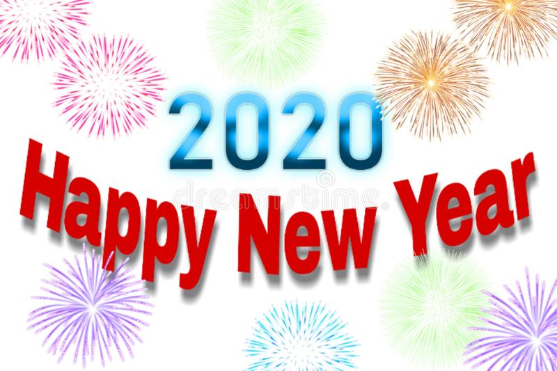 Lighting background of happy new year 2020 royalty free illustration