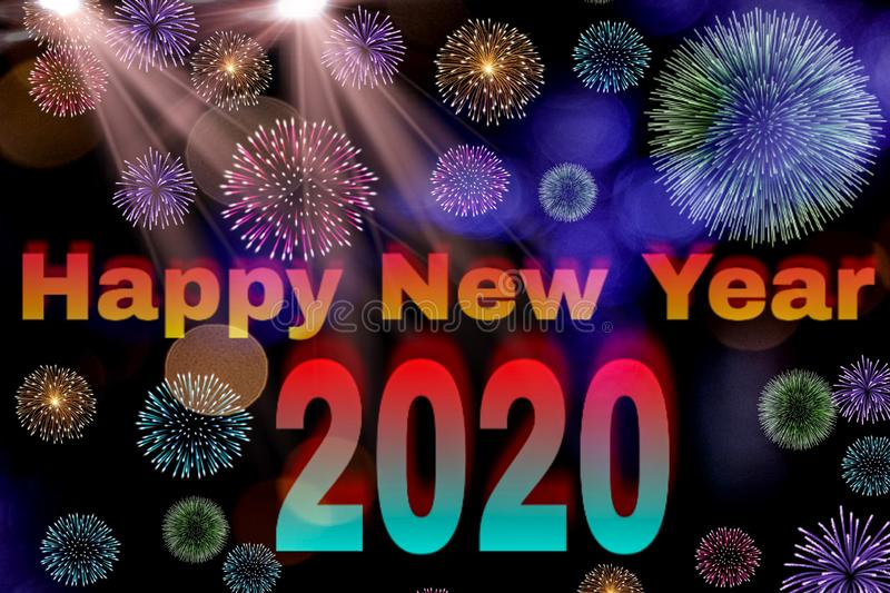Decorating background of happy new year 2020 stock images