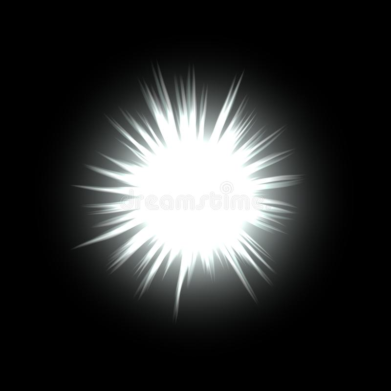 Lighting ball orb or star with flare in space royalty free illustration