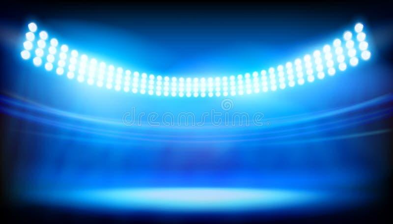 The lighting on big stadium. Vector illustration. Sports stadium floodlights. Vector illustration vector illustration