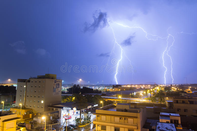 Lighting bolt in the City royalty free stock photography