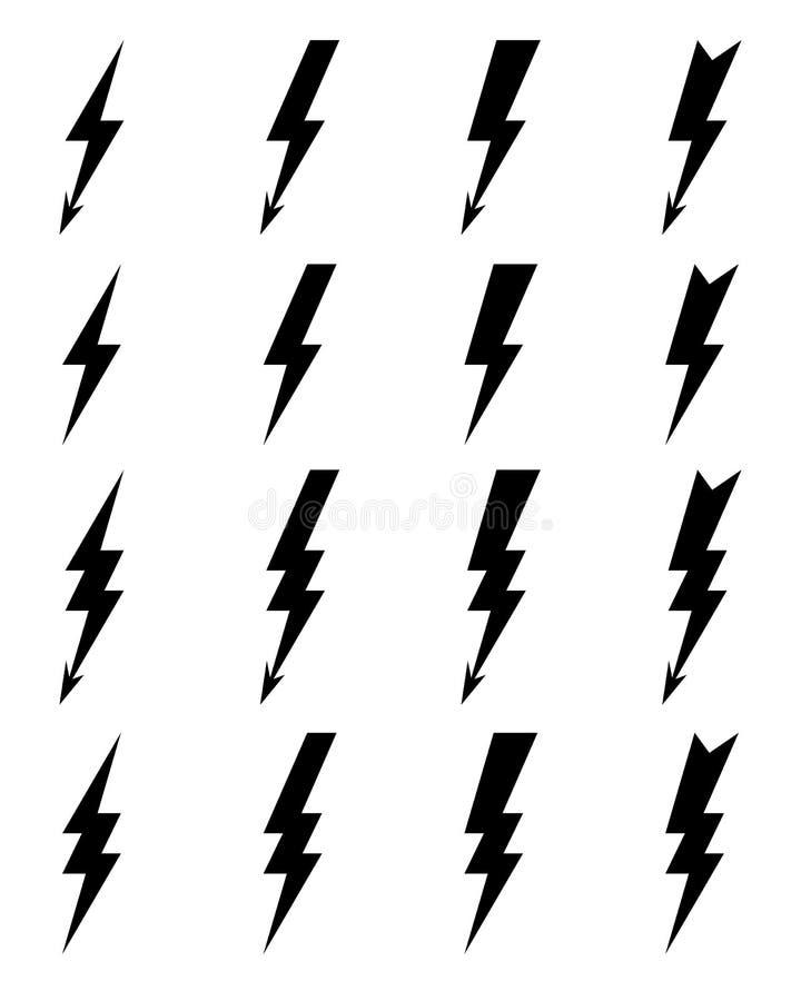 Lighting bolt Icons royalty free illustration
