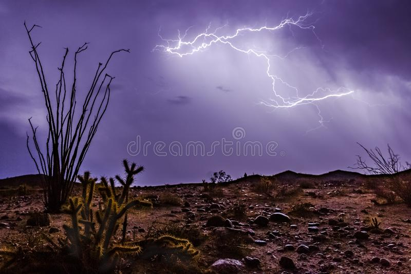 Epic lightning and thunderstorm in the desert of southern California stock photo
